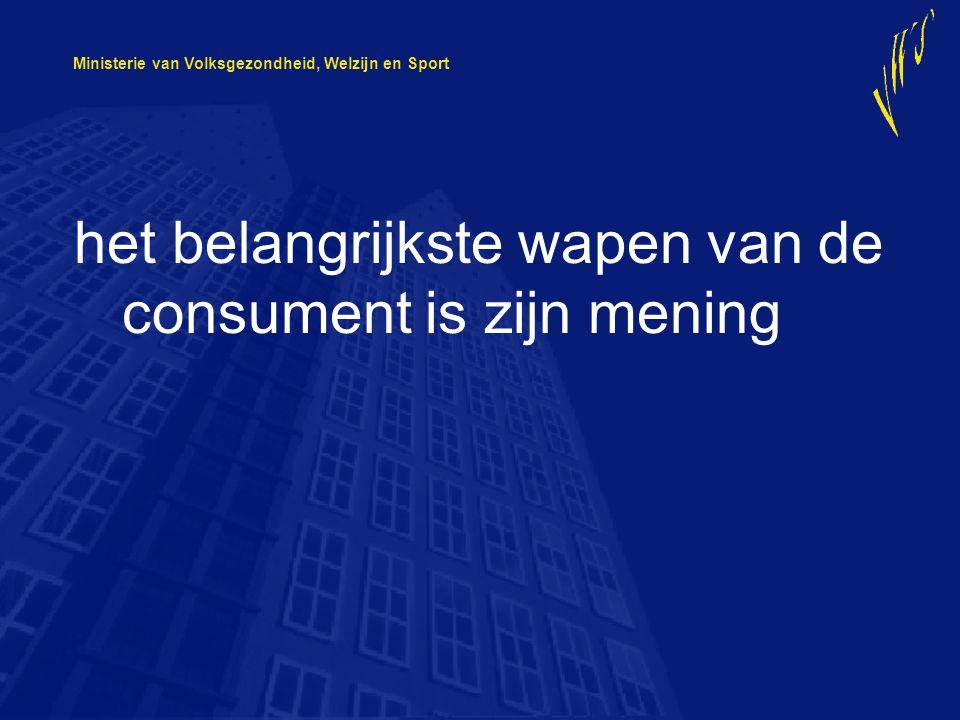 Ministerie van Volksgezondheid, Welzijn en Sport het belangrijkste wapen van de consument is zijn mening