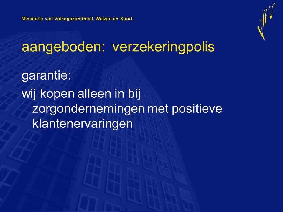 Ministerie van Volksgezondheid, Welzijn en Sport consument verzekeraar aanbieder