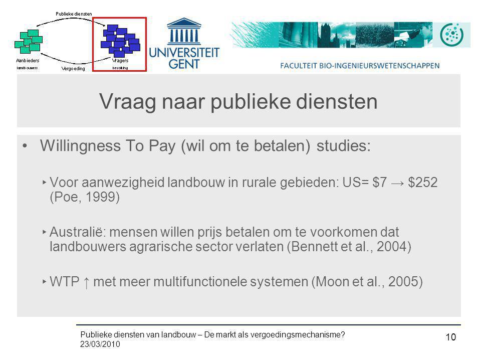 Publieke diensten van landbouw – De markt als vergoedingsmechanisme? 23/03/2010 10 Vraag naar publieke diensten •Willingness To Pay (wil om te betalen