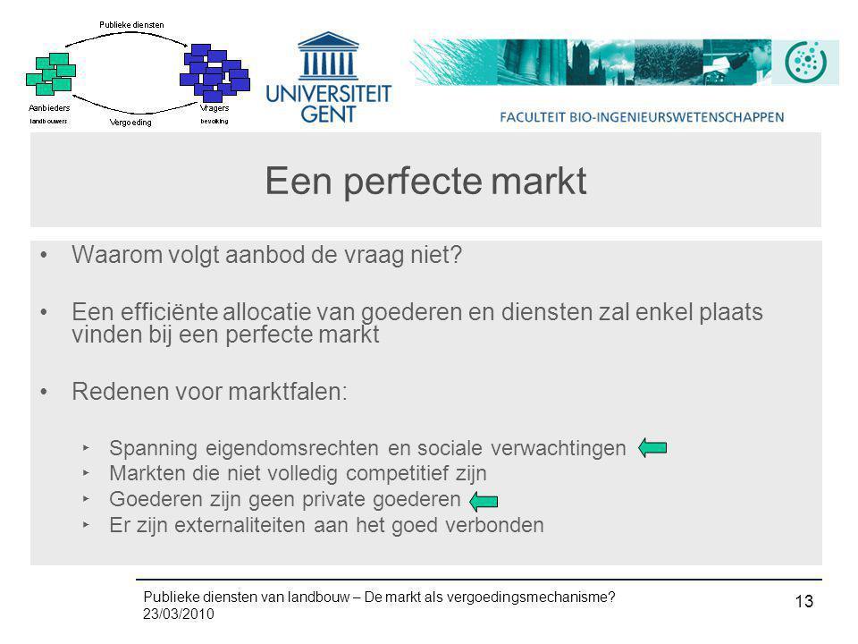 Publieke diensten van landbouw – De markt als vergoedingsmechanisme? 23/03/2010 13 Een perfecte markt •Waarom volgt aanbod de vraag niet? •Een efficië
