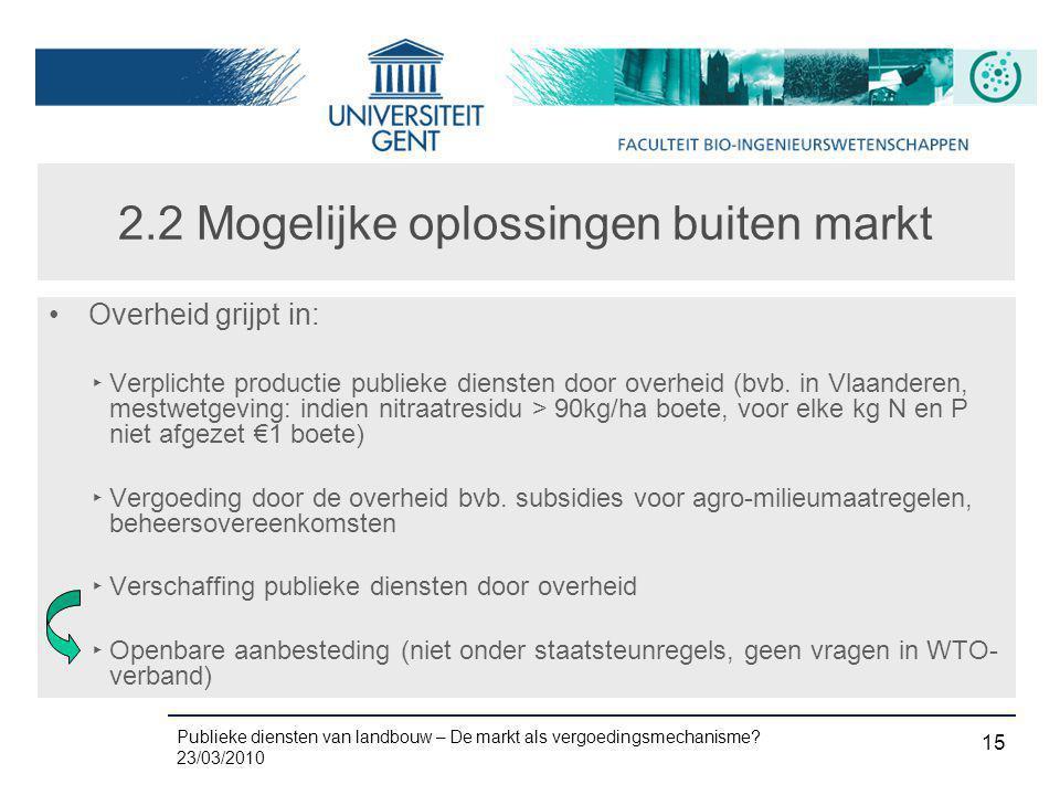 Publieke diensten van landbouw – De markt als vergoedingsmechanisme? 23/03/2010 15 2.2 Mogelijke oplossingen buiten markt •Overheid grijpt in: ‣ Verpl