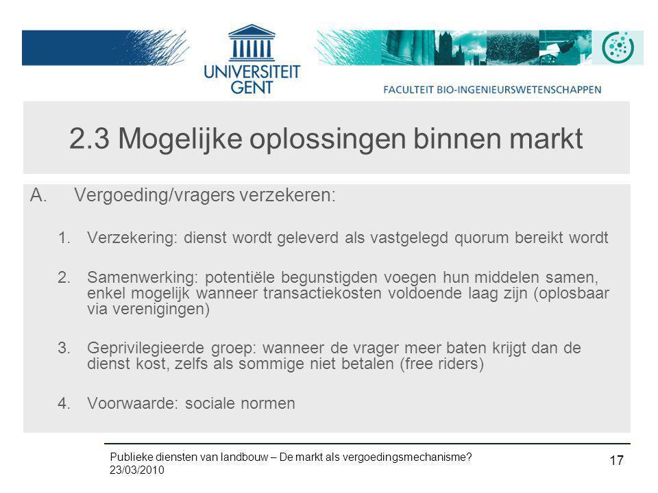 Publieke diensten van landbouw – De markt als vergoedingsmechanisme? 23/03/2010 17 2.3 Mogelijke oplossingen binnen markt A.Vergoeding/vragers verzeke