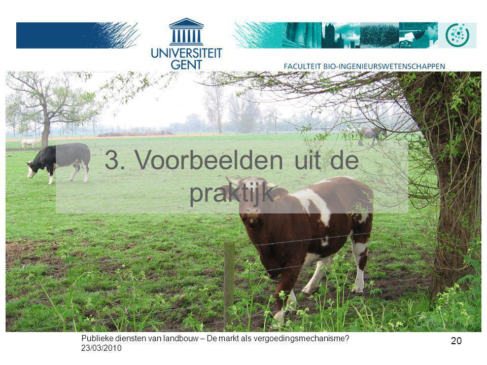 Publieke diensten van landbouw – De markt als vergoedingsmechanisme? 23/03/2010 20 3. Voorbeelden uit de praktijk