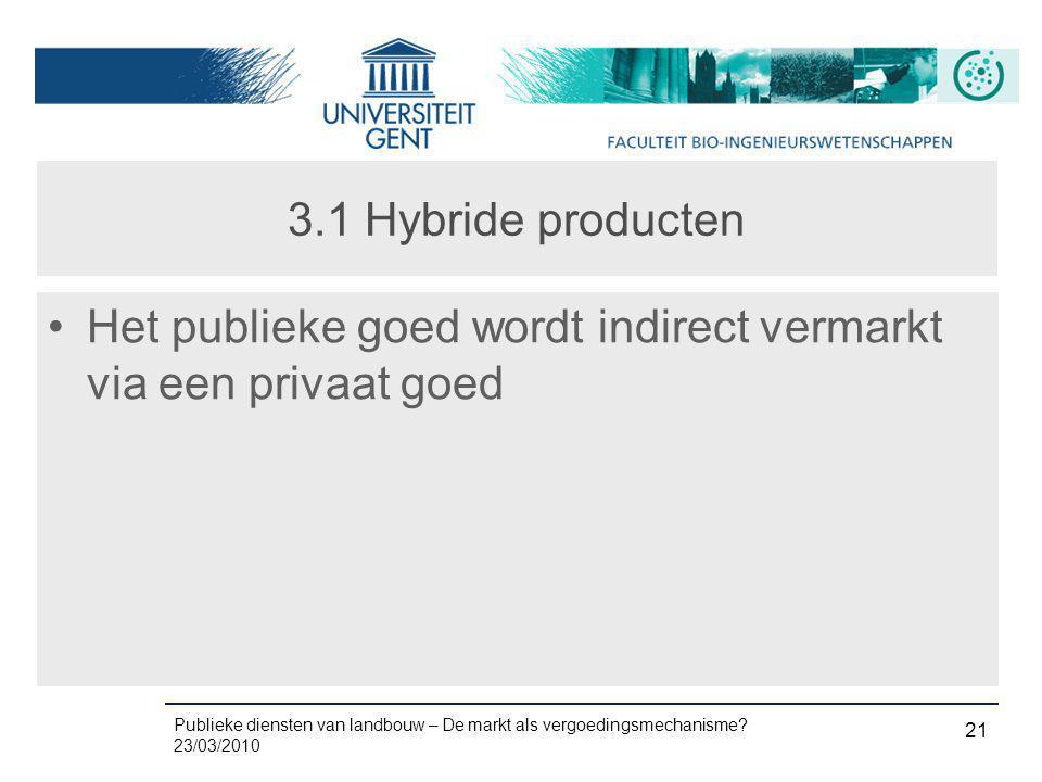Publieke diensten van landbouw – De markt als vergoedingsmechanisme? 23/03/2010 21 3.1 Hybride producten •Het publieke goed wordt indirect vermarkt vi