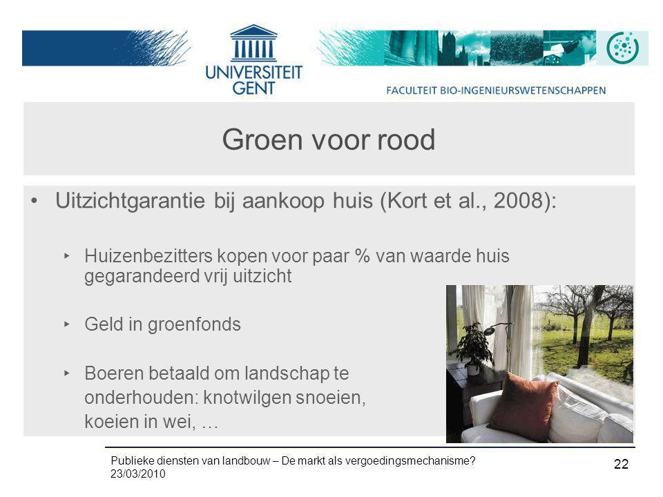 Publieke diensten van landbouw – De markt als vergoedingsmechanisme? 23/03/2010 22 Groen voor rood •Uitzichtgarantie bij aankoop huis (Kort et al., 20
