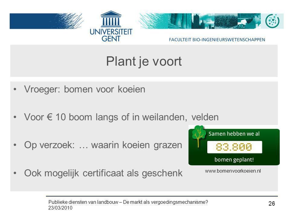 Publieke diensten van landbouw – De markt als vergoedingsmechanisme? 23/03/2010 26 Plant je voort •Vroeger: bomen voor koeien •Voor € 10 boom langs of