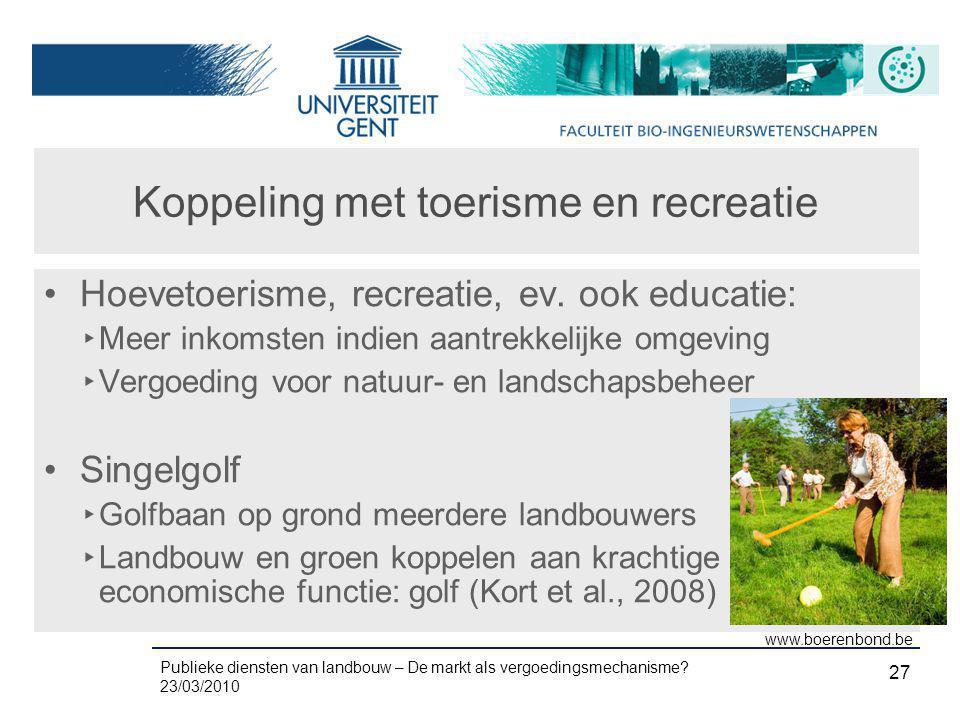 Publieke diensten van landbouw – De markt als vergoedingsmechanisme? 23/03/2010 27 Koppeling met toerisme en recreatie •Hoevetoerisme, recreatie, ev.