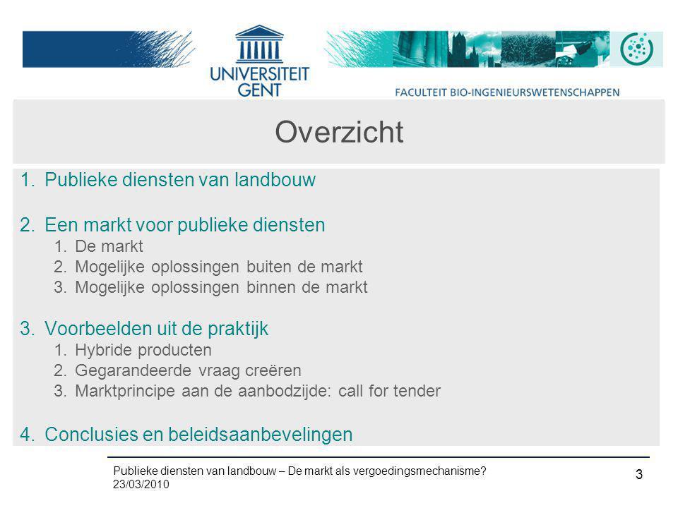 Publieke diensten van landbouw – De markt als vergoedingsmechanisme? 23/03/2010 3 Overzicht 1. Publieke diensten van landbouw 2. Een markt voor publie