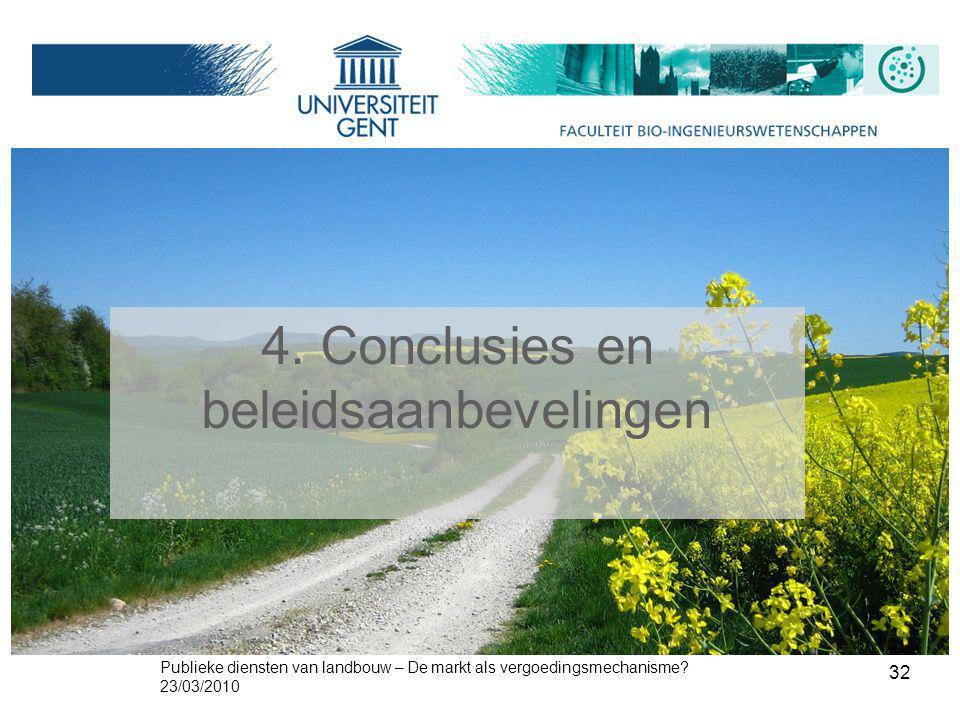 Publieke diensten van landbouw – De markt als vergoedingsmechanisme? 23/03/2010 32 4. Conclusies en beleidsaanbevelingen