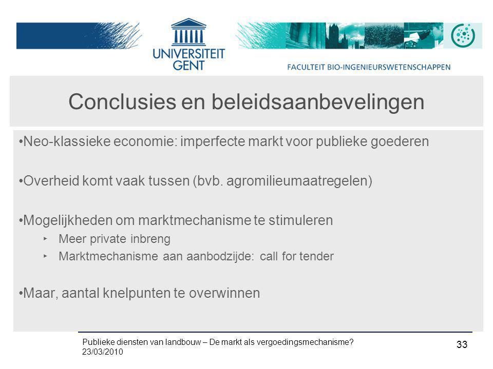Publieke diensten van landbouw – De markt als vergoedingsmechanisme? 23/03/2010 33 Conclusies en beleidsaanbevelingen •Neo-klassieke economie: imperfe