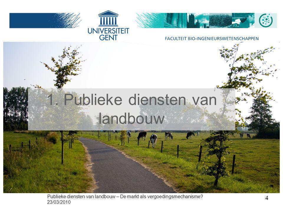 Publieke diensten van landbouw – De markt als vergoedingsmechanisme? 23/03/2010 4 1. Publieke diensten van landbouw
