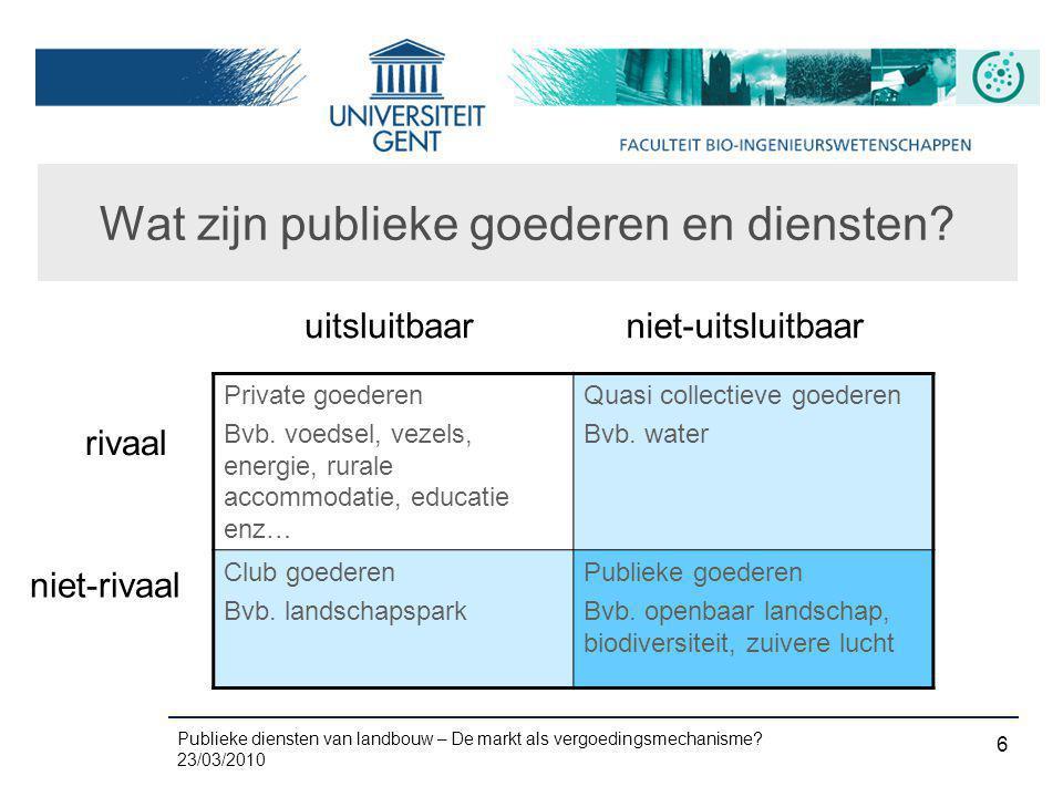 Publieke diensten van landbouw – De markt als vergoedingsmechanisme? 23/03/2010 6 Wat zijn publieke goederen en diensten? Private goederen Bvb. voedse