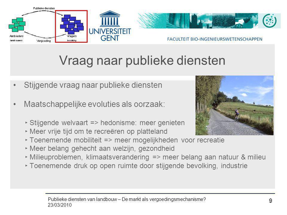 Publieke diensten van landbouw – De markt als vergoedingsmechanisme? 23/03/2010 9 Vraag naar publieke diensten •Stijgende vraag naar publieke diensten