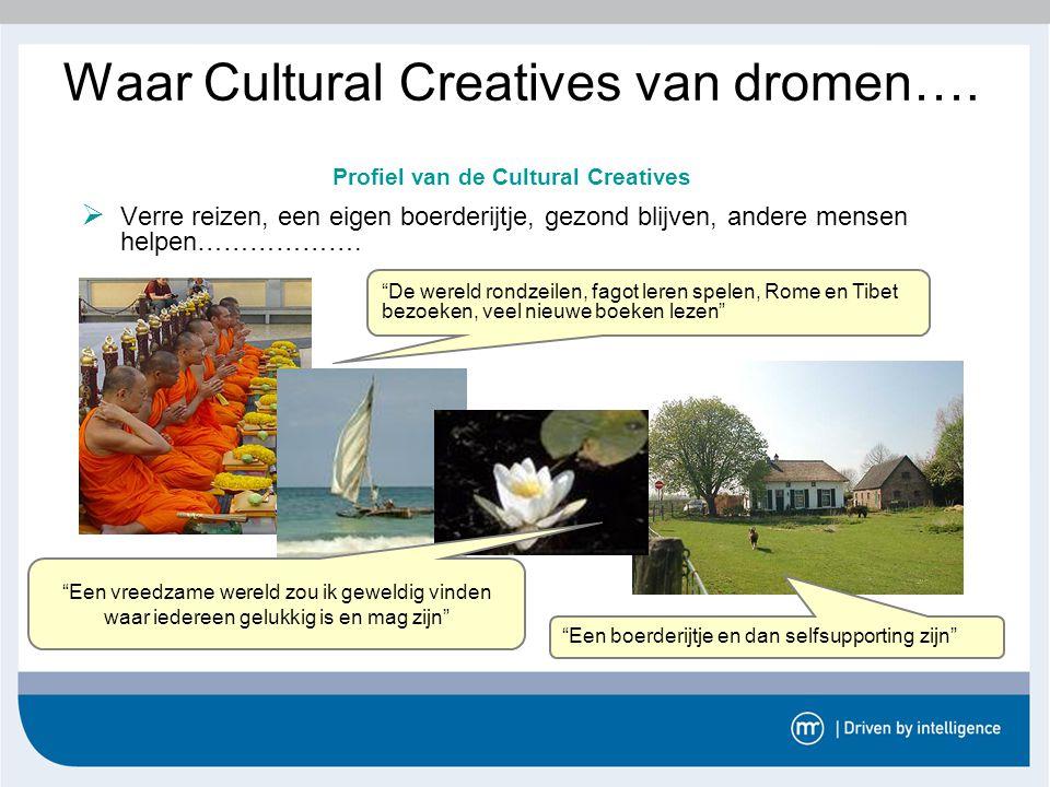 """Waar Cultural Creatives van dromen….  Verre reizen, een eigen boerderijtje, gezond blijven, andere mensen helpen………………. """"De wereld rondzeilen, fagot"""