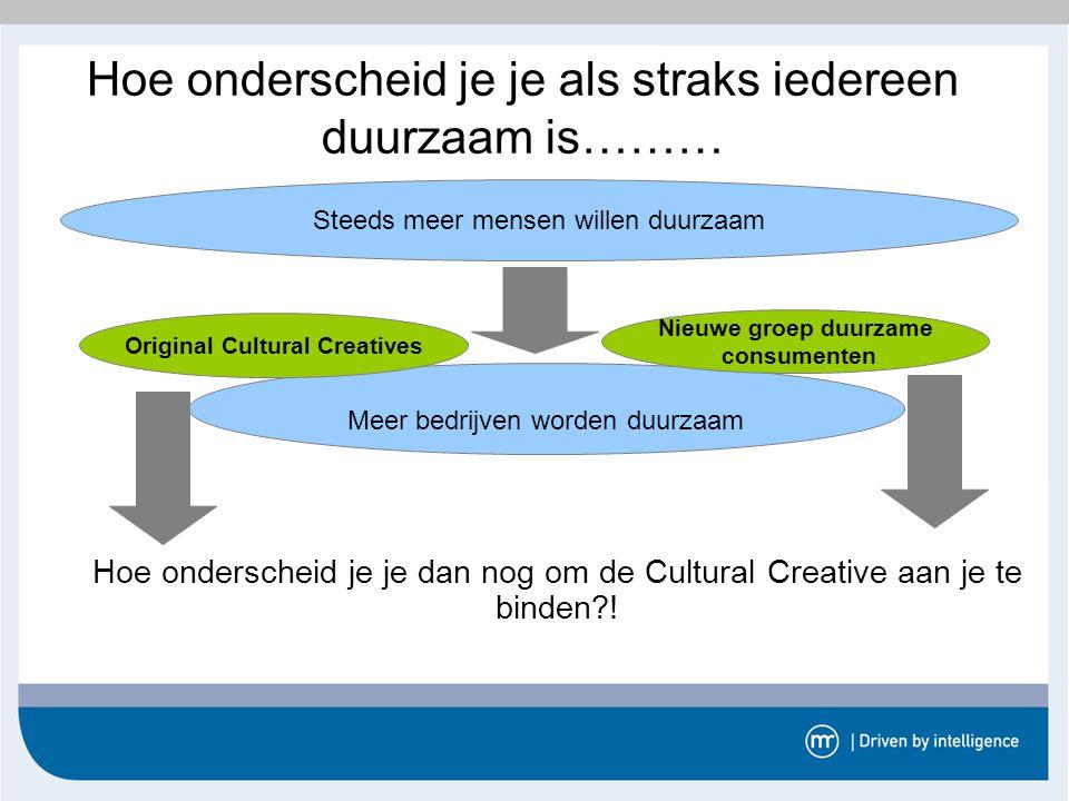 De Cultural Creative denkt graag na  Gevolg voor bedrijven die de Cultural Creatives willen benaderen: -zorg dat je genoeg informatie beschikbaar stelt -Kwalitatief goede argumenten zijn belangrijker dan een mooi verpakte boodschap -maak gebruik van impliciete conclusies (zodat de Cultural Creative er zelf nog over na kan denken).