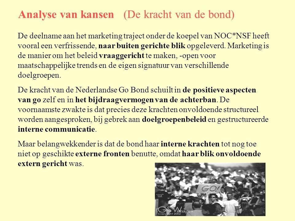 Analyse van kansen (De kracht van de bond) De deelname aan het marketing traject onder de koepel van NOC*NSF heeft vooral een verfrissende, naar buiten gerichte blik opgeleverd.