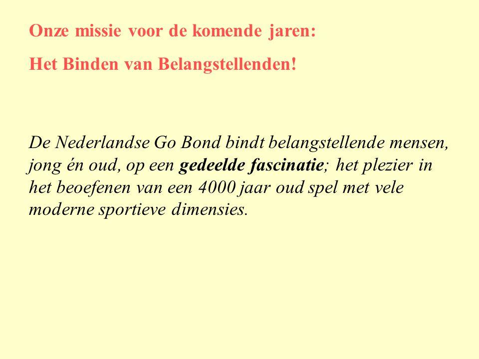 De Nederlandse Go Bond bindt belangstellende mensen, jong én oud, op een gedeelde fascinatie; het plezier in het beoefenen van een 4000 jaar oud spel met vele moderne sportieve dimensies.