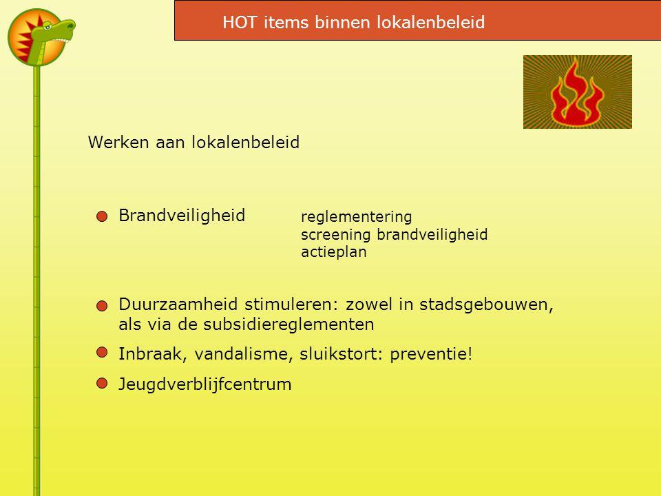 Werken aan lokalenbeleid Brandveiligheid Duurzaamheid stimuleren: zowel in stadsgebouwen, als via de subsidiereglementen Inbraak, vandalisme, sluikstort: preventie.