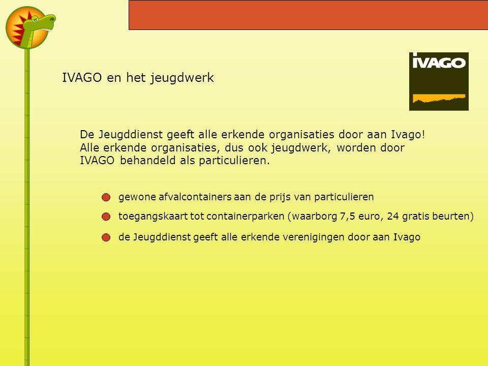 IVAGO en het jeugdwerk De Jeugddienst geeft alle erkende organisaties door aan Ivago.