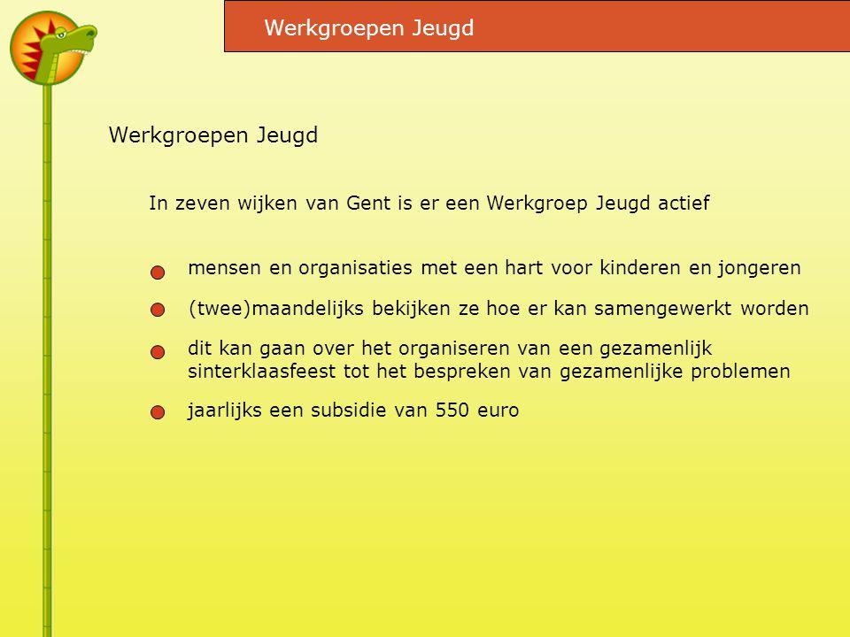 mensen en organisaties met een hart voor kinderen en jongeren Werkgroepen Jeugd In zeven wijken van Gent is er een Werkgroep Jeugd actief (twee)maandelijks bekijken ze hoe er kan samengewerkt worden dit kan gaan over het organiseren van een gezamenlijk sinterklaasfeest tot het bespreken van gezamenlijke problemen jaarlijks een subsidie van 550 euro