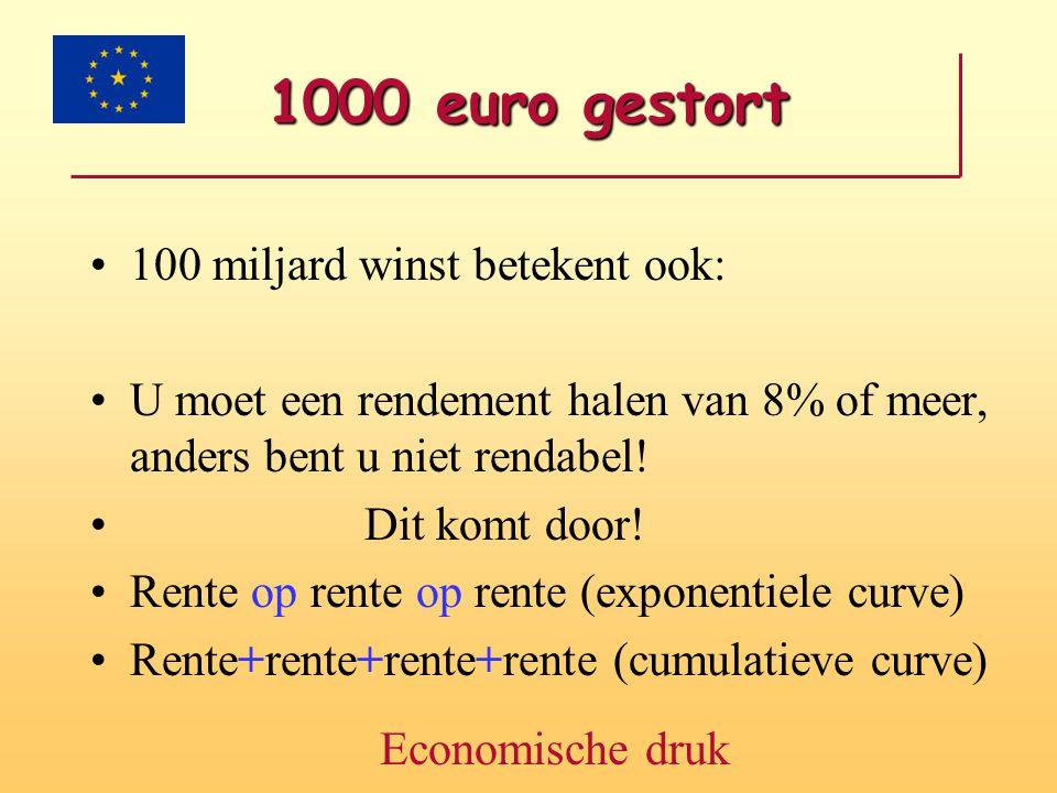 1000 euro gestort •100 miljard winst betekent ook: •U moet een rendement halen van 8% of meer, anders bent u niet rendabel! • Dit komt door! •Rente op