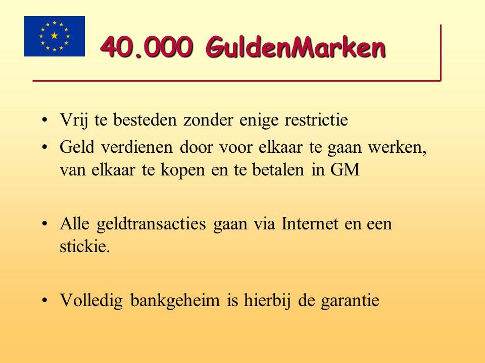 40.000 GuldenMarken •Vrij te besteden zonder enige restrictie •Geld verdienen door voor elkaar te gaan werken, van elkaar te kopen en te betalen in GM