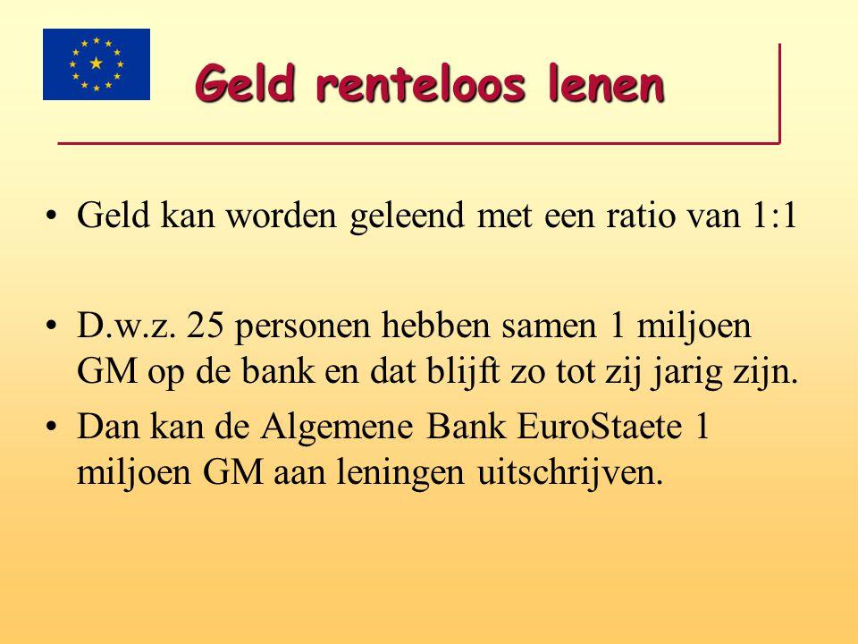 Geld renteloos lenen •Geld kan worden geleend met een ratio van 1:1 •D.w.z. 25 personen hebben samen 1 miljoen GM op de bank en dat blijft zo tot zij