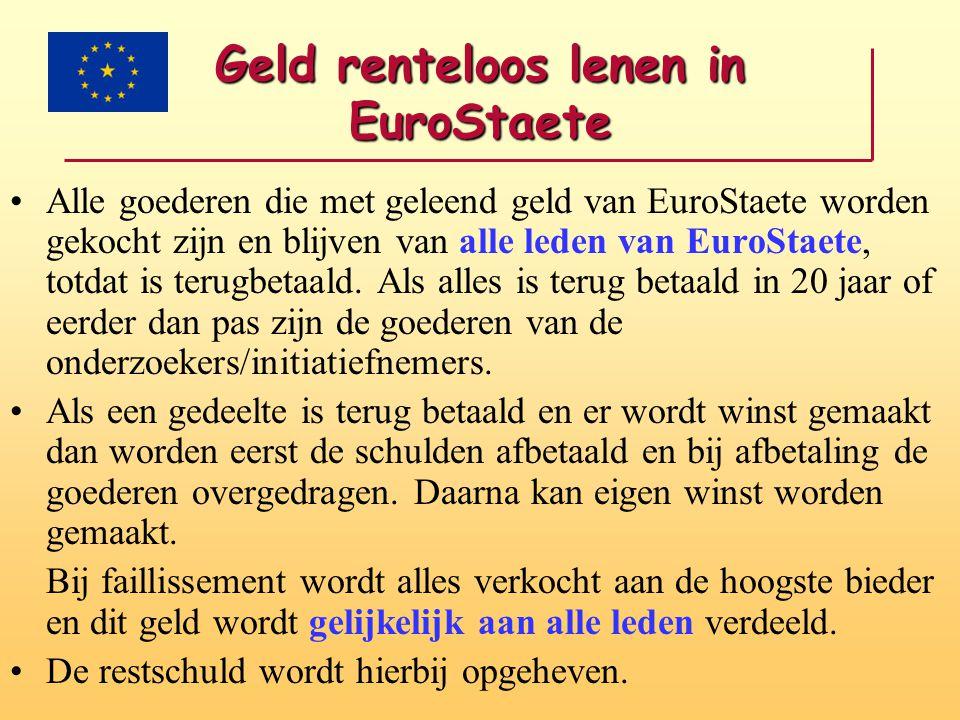 Geld renteloos lenen in EuroStaete •Alle goederen die met geleend geld van EuroStaete worden gekocht zijn en blijven van alle leden van EuroStaete, to