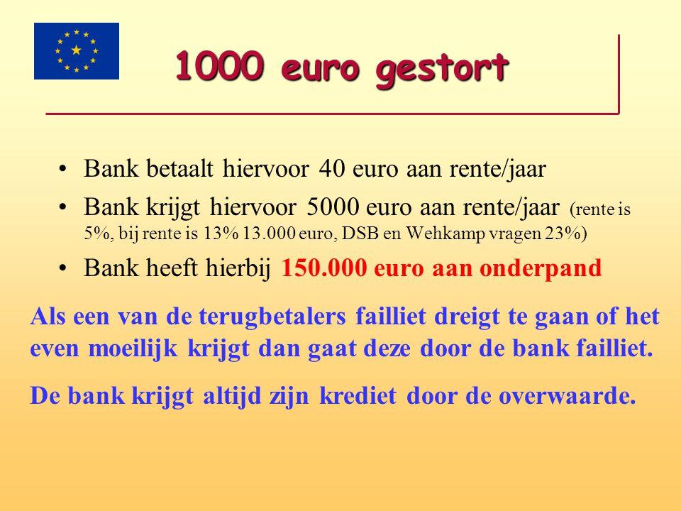 1000 euro gestort •Bank betaalt hiervoor 40 euro aan rente/jaar •Bank krijgt hiervoor 5000 euro aan rente/jaar (rente is 5%, bij rente is 13% 13.000 e