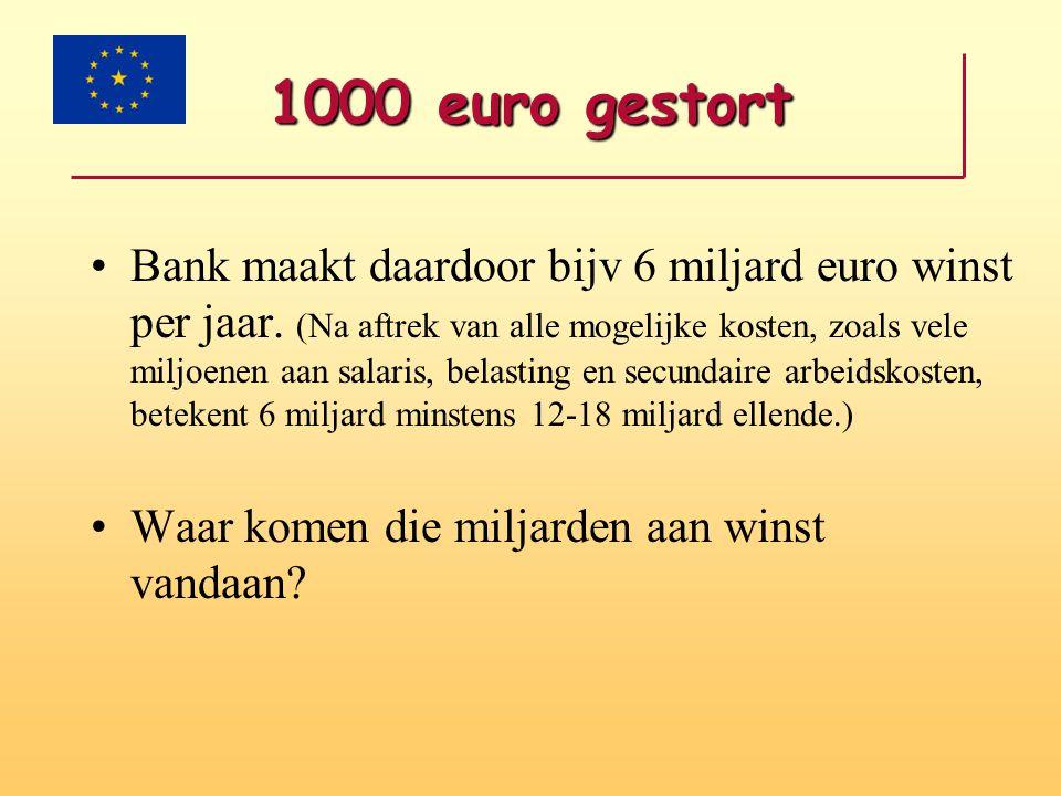 1000 euro gestort •6 miljard euro winst betekent: •12-18 miljard euro verlies (faillissementen, gedwongen verkopen, boetes, speculaties, handelen in geld) •of •6 miljard euro nieuw geld, 6 miljard aan onderpanden en 6 miljard verlies, enz, enz.