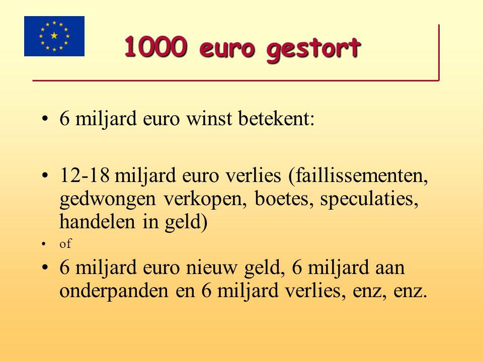1000 euro gestort •6 miljard euro winst betekent: •12-18 miljard euro verlies (faillissementen, gedwongen verkopen, boetes, speculaties, handelen in g