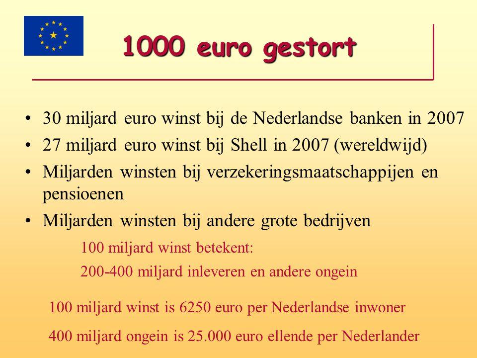 1000 euro gestort •30 miljard euro winst bij de Nederlandse banken in 2007 •27 miljard euro winst bij Shell in 2007 (wereldwijd) •Miljarden winsten bi