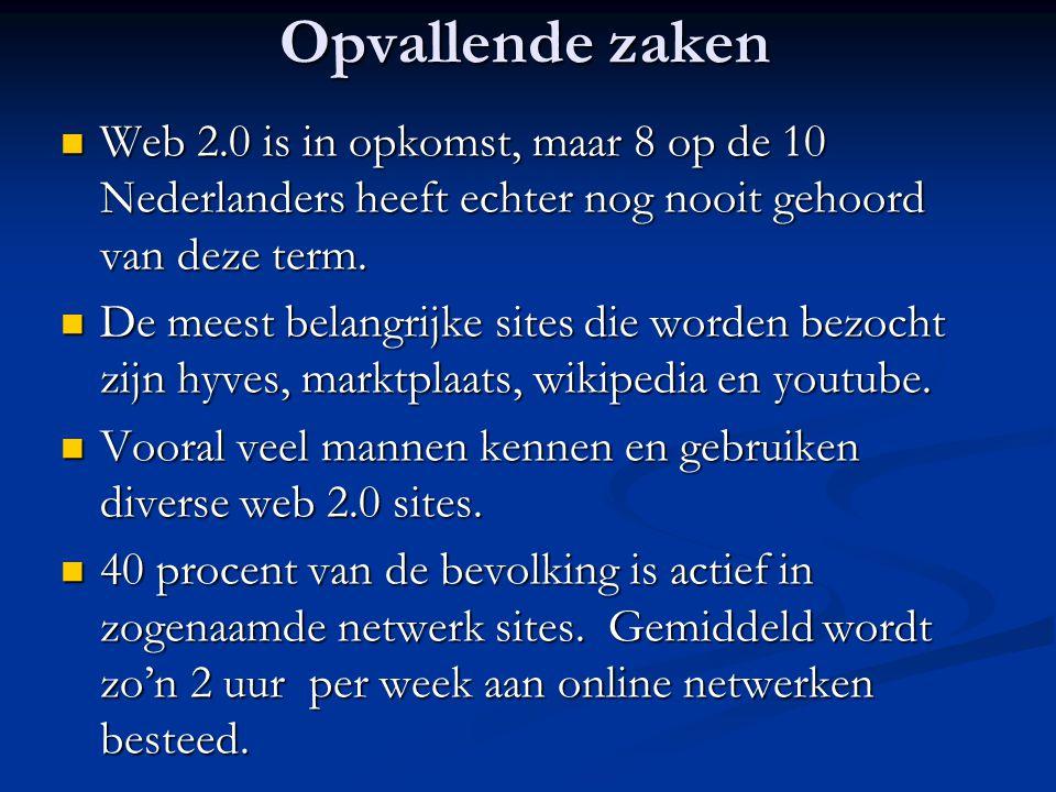 Opvallende zaken  Web 2.0 is in opkomst, maar 8 op de 10 Nederlanders heeft echter nog nooit gehoord van deze term.  De meest belangrijke sites die
