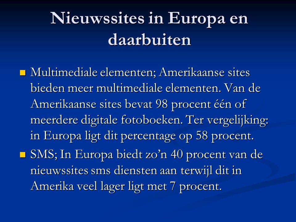 Nieuwssites in Europa en daarbuiten  Multimediale elementen; Amerikaanse sites bieden meer multimediale elementen. Van de Amerikaanse sites bevat 98