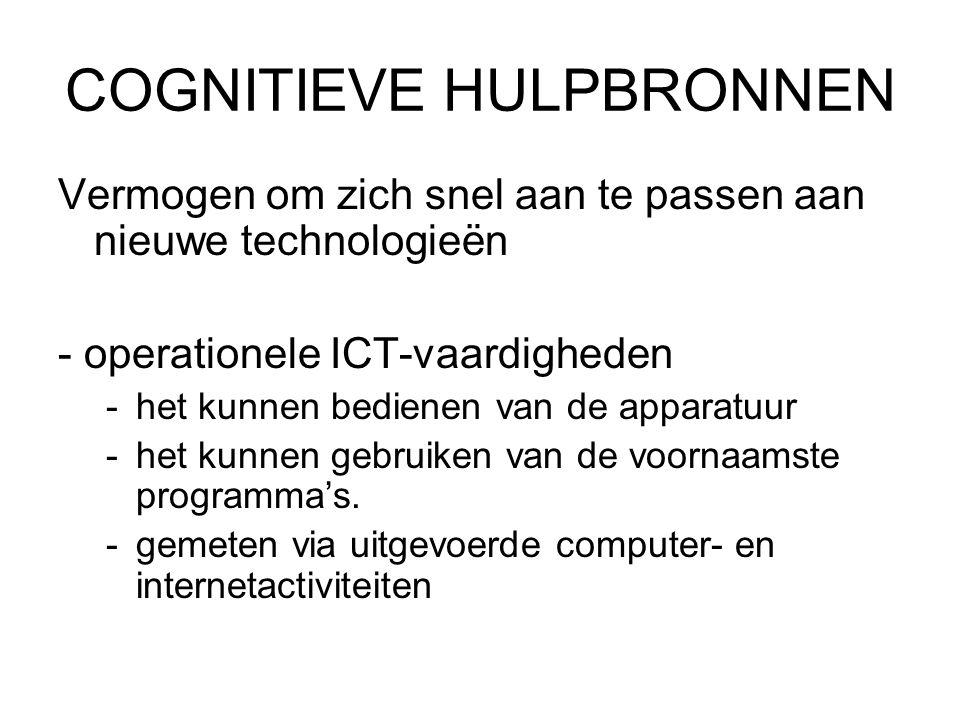 COGNITIEVE HULPBRONNEN Vermogen om zich snel aan te passen aan nieuwe technologieën - operationele ICT-vaardigheden -het kunnen bedienen van de apparatuur -het kunnen gebruiken van de voornaamste programma's.