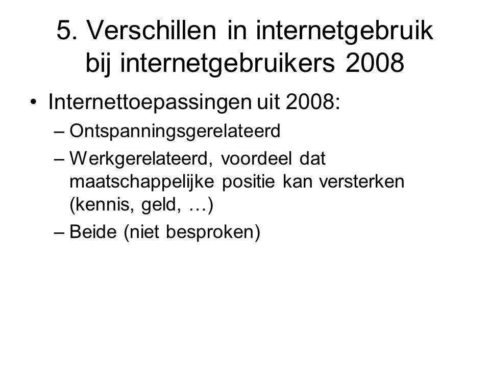5. Verschillen in internetgebruik bij internetgebruikers 2008 •Internettoepassingen uit 2008: –Ontspanningsgerelateerd –Werkgerelateerd, voordeel dat