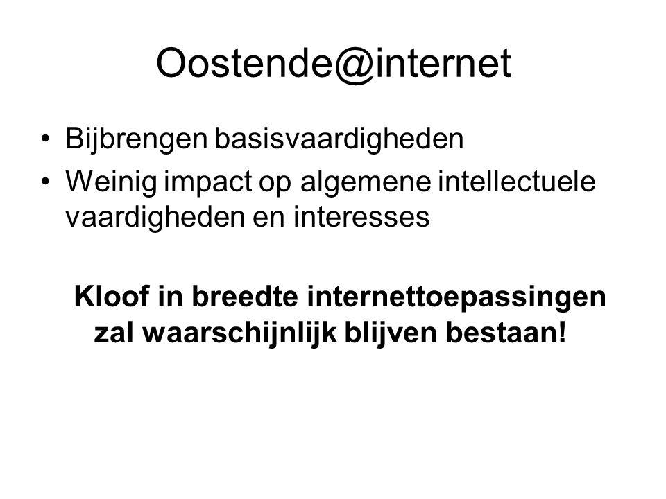 Oostende@internet •Bijbrengen basisvaardigheden •Weinig impact op algemene intellectuele vaardigheden en interesses Kloof in breedte internettoepassingen zal waarschijnlijk blijven bestaan!