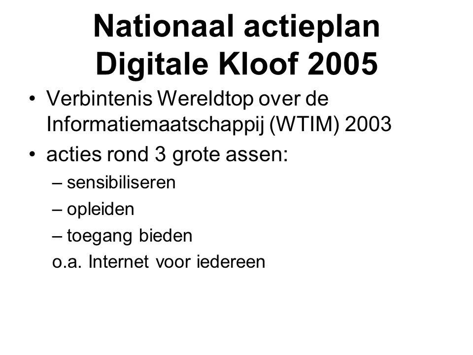 Nationaal actieplan Digitale Kloof 2005 •Verbintenis Wereldtop over de Informatiemaatschappij (WTIM) 2003 •acties rond 3 grote assen: –sensibiliseren –opleiden –toegang bieden o.a.