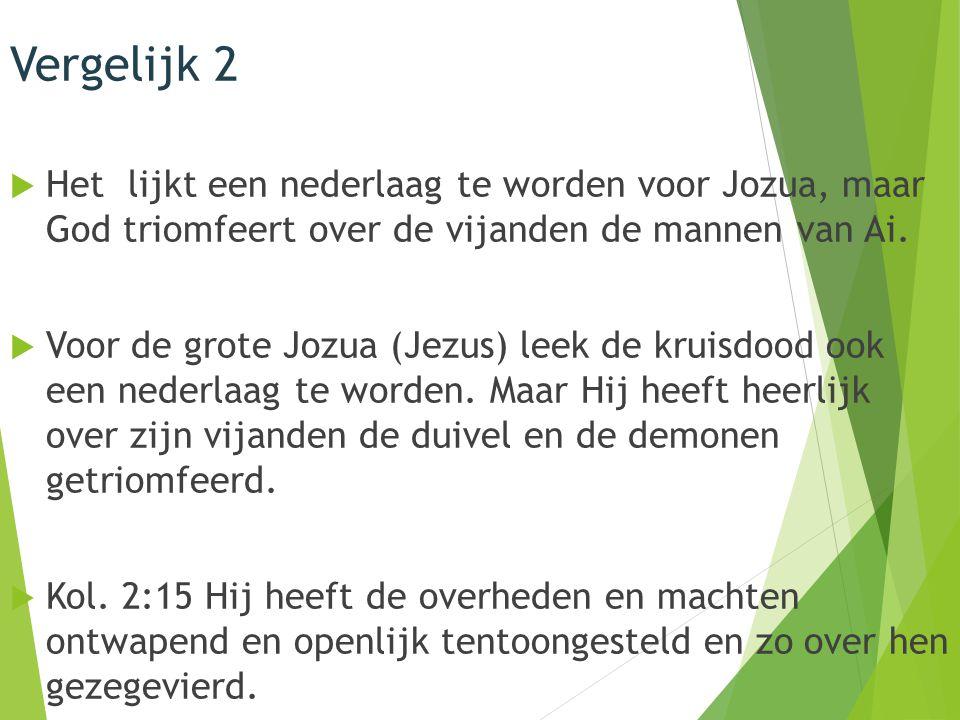 Vergelijk 2  Het lijkt een nederlaag te worden voor Jozua, maar God triomfeert over de vijanden de mannen van Ai.