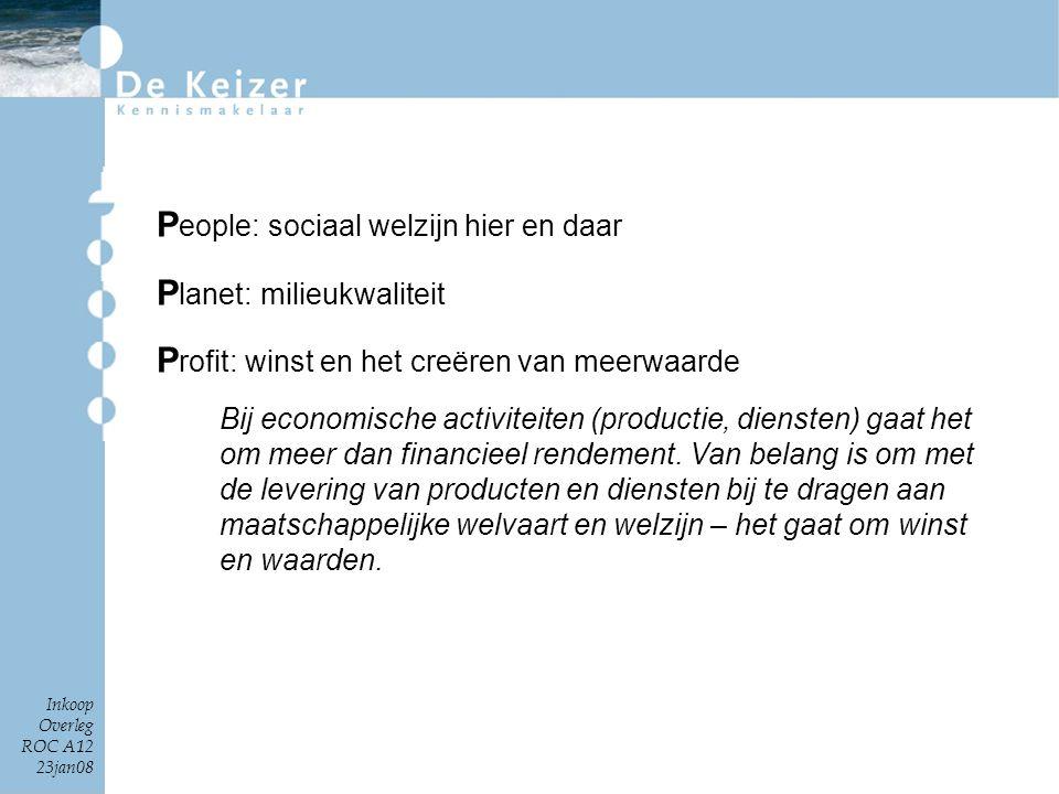 Inkoop Overleg ROC A12 23jan08 P eople: sociaal welzijn hier en daar P lanet: milieukwaliteit P rofit: winst en het creëren van meerwaarde Bij economi