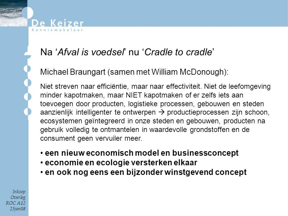 Inkoop Overleg ROC A12 23jan08 Na 'Afval is voedsel' nu 'Cradle to cradle' Michael Braungart (samen met William McDonough): Niet streven naar efficiën