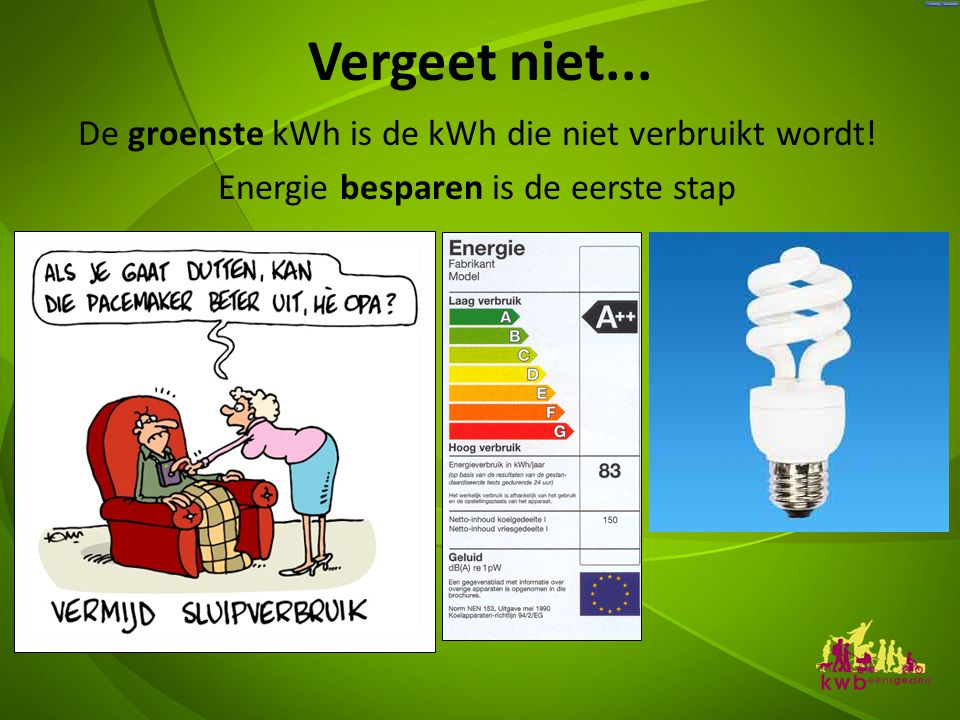 Vergeet niet...De groenste kWh is de kWh die niet verbruikt wordt.