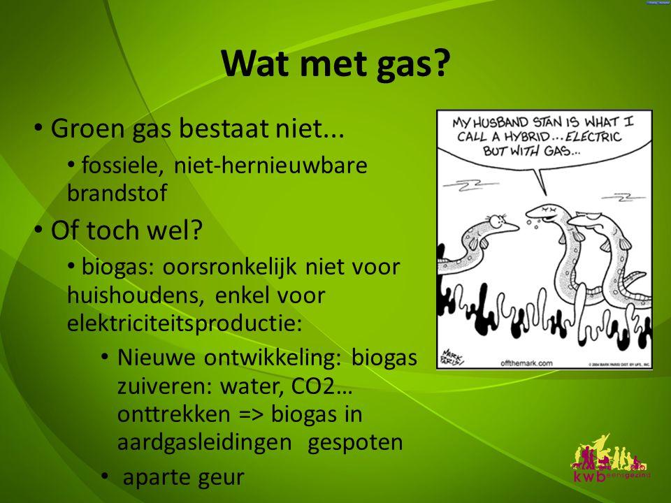 Wat met gas.• Groen gas bestaat niet... • fossiele, niet-hernieuwbare brandstof • Of toch wel.