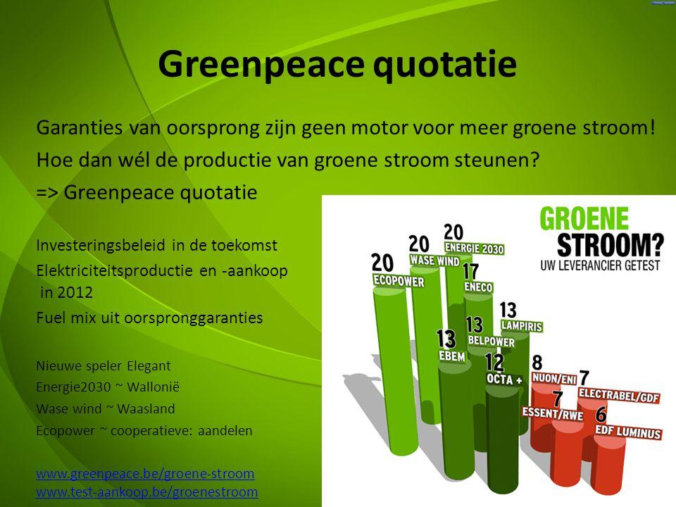 Greenpeace quotatie Garanties van oorsprong zijn geen motor voor meer groene stroom.