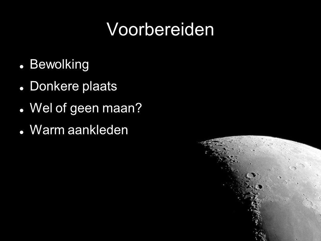 Voorbereiden  Bewolking  Donkere plaats  Wel of geen maan?  Warm aankleden