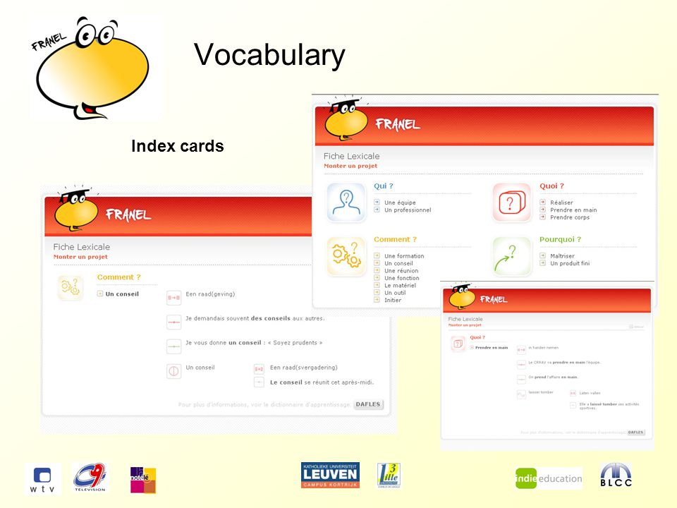 Vocabulary Index cards