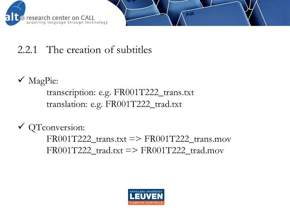 2.2.1The creation of subtitles  MagPie: transcription: e.g.