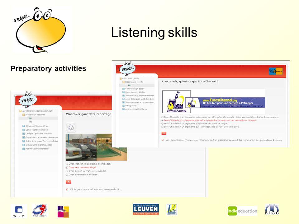 Listening skills Preparatory activities