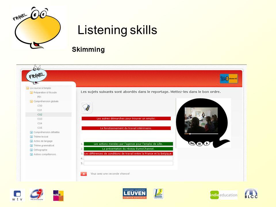 Listening skills Scanning