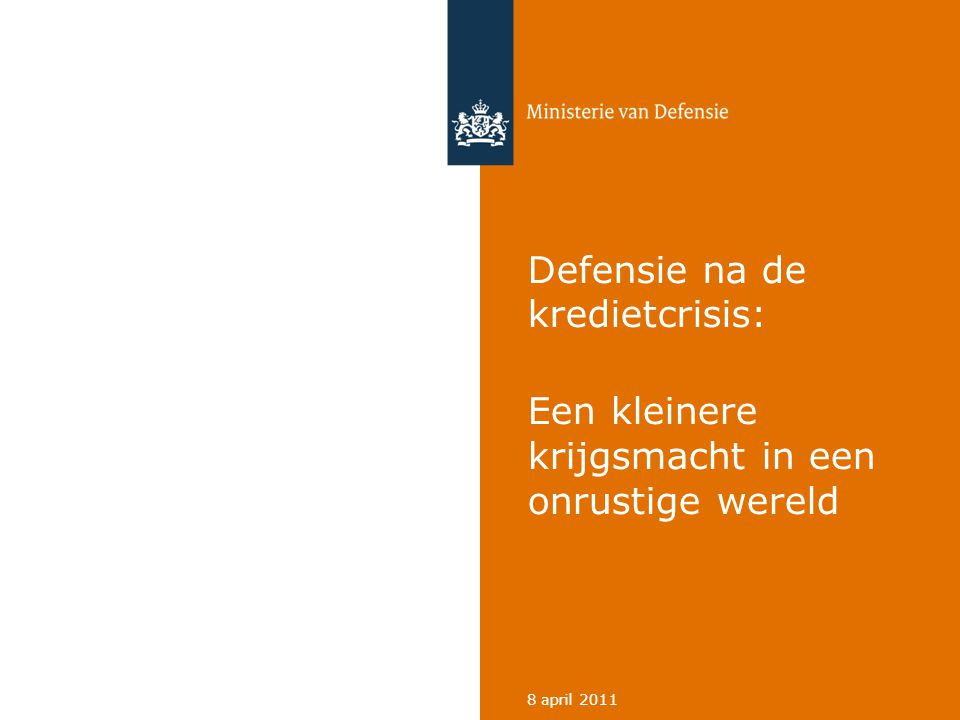 Ministerie van Defensie 32 De toekomst van de krijgsmacht 8 april 2011 Investeren in: • Digitale weerbaarheid en cyberoperaties • Onbemande luchtsystemen (UAV's) • Middelen voor het optreden in netwerken (NEC) • Counter IED • Effectieve beïnvloeding in operaties • Geïntegreerde vuursteun • Verdediging tegen ballistische raketten • Satellietcommunicatie
